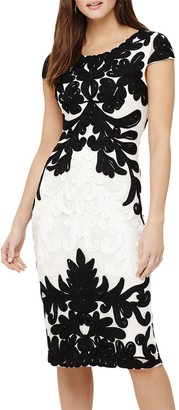 Phase Eight Quentin Tapework Dress, Ivory/Black