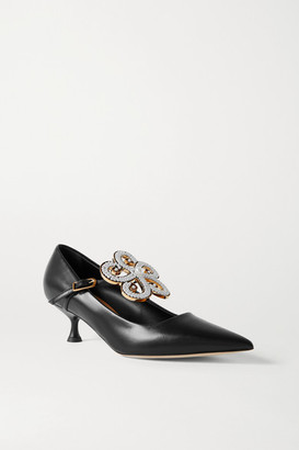 Loewe Faux Pearl-embellished Leather Pumps - Black