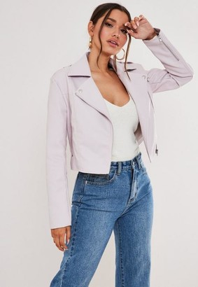 Missguided Blush Faux Leather Boxy Biker Jacket