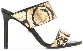 Versace Golden Hibiscus print sandals