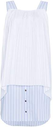 Monographie sleeveless pleated stripe cotton dress