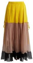 No.21 NO. 21 Colour-block silk-crepon maxi skirt