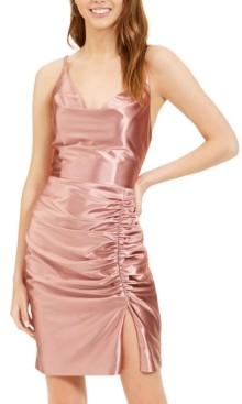 Blondie Nites Juniors' Ruched Satin Sheath Dress
