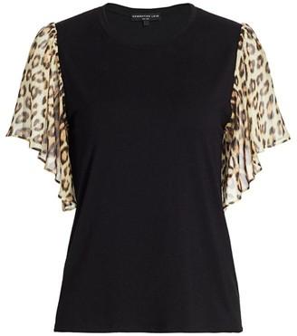 Generation Love Kati Leopard Print Ruffle T-Shirt