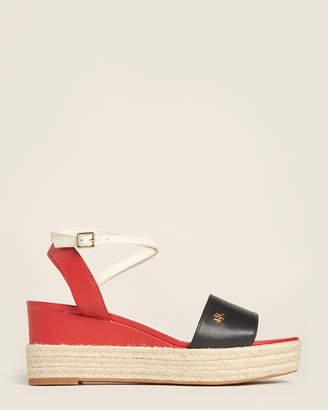 Lauren Ralph Lauren Black & Red Delores Espadrille Wedge Sandals