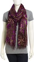 Fringed Paisley Voile Scarf, Purple