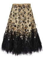 Matthew Williamson Gold Leopard Lace Feather Skirt