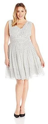 Julia Jordan Women's Plus Size Polka Dot Flirty Dress Ivory/black 16W