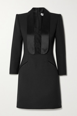 Alexander McQueen Satin And Lace-trimmed Wool-blend Cady Mini Dress - Black