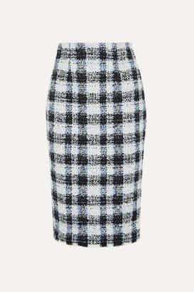 Alexander McQueen Checked Boucle-tweed Midi Skirt - Blue