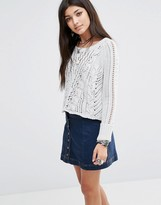 Free People Cross Cable Knit Sweater