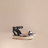 Burberry Leather and House Check Espadrille Platform Sandals