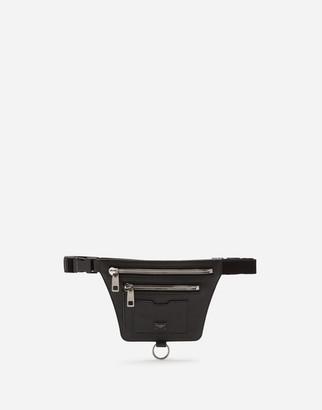 Dolce & Gabbana Palermo Belt Bag In Hammered Calfskin With Branded Plate