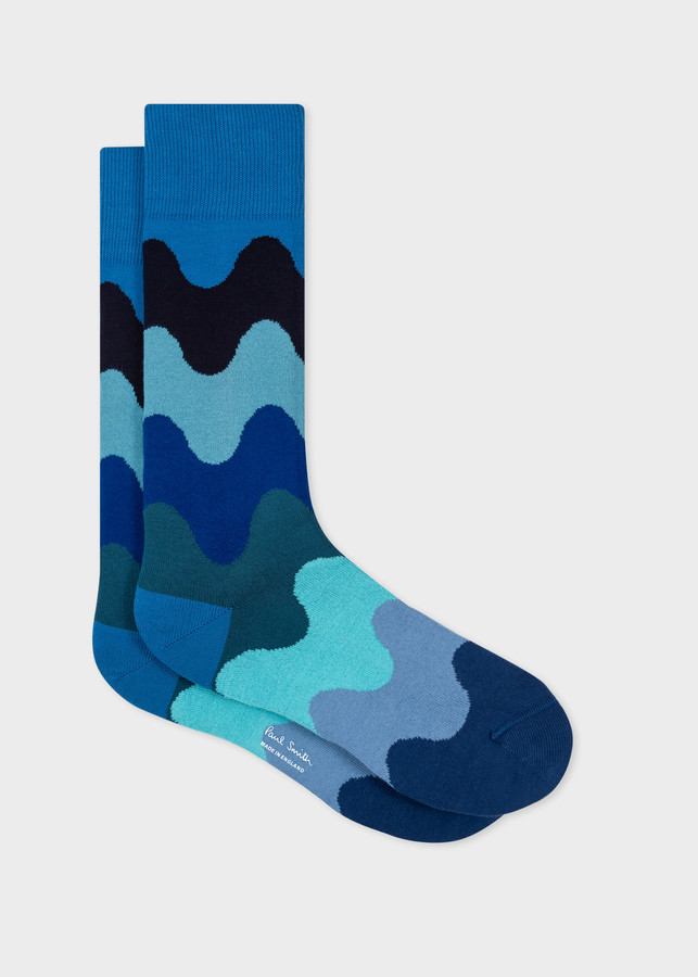 Thumbnail for your product : Paul Smith Men's Blue Wave Stripe Socks