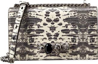 Alexander McQueen Jeweled Snake-Embossed Leather Shoulder Bag