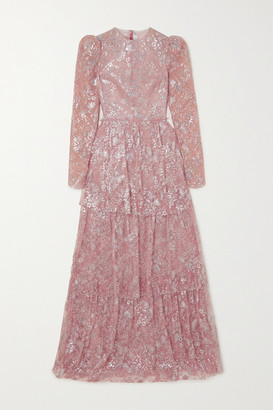 The Vampire's Wife The Unrequited Tiered Metallic Lace Maxi Dress - Baby pink