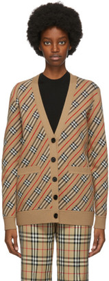 Burberry Beige Check Coralie Cardigan