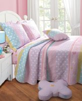 Greenland Home Polka Dot Stripe Quilt Set, Full/Queen