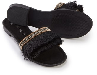 Pretty You London Fringe Sandal In Black