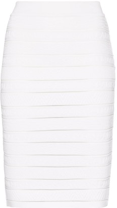 Balmain Logo Stripe Panel Pencil Skirt
