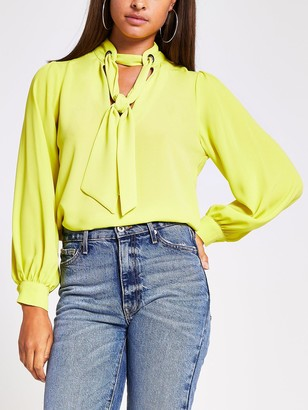 River Island Long Sleeve Pussybow Blouse - Lime