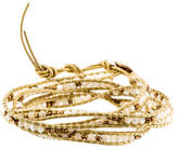 Chan Luu Yellow Leather Mother of Pearl Wrap Bracelet