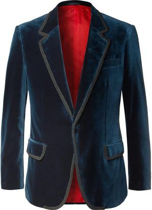 Kingsman Rocketman Navy Slim-Fit Cotton-Velvet Tuxedo Jacket