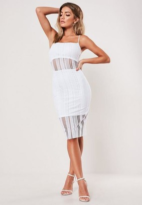 Missguided Petite White Lace Strappy Midi Dress