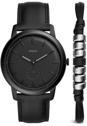 Fossil The Minimalist Two-Hand Sub-Second Black Leather Watch And Bracelet Box Set jewelry