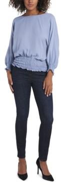Vince Camuto Women's Smocked Waist Dolman Sleeve Top