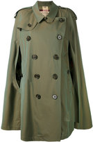 Burberry gabardine cape with check detail - women - Cotton - 4