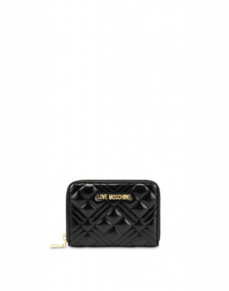 Love Moschino Quilted Zip Around Wallet Woman Black Size U It - (one Size Us)