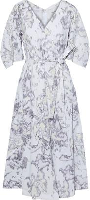 3.1 Phillip Lim Belted Printed Cotton-poplin Midi Dress