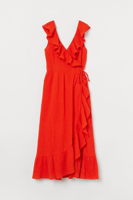 H&M Flounce-trimmed Cotton Dress - Orange