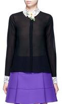 Alice + Olivia 'Willa' sequin flower brooch lace collar silk shirt