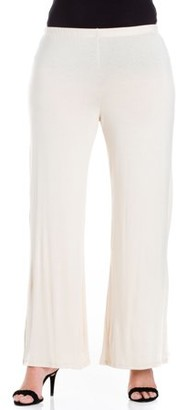 24/7 Comfort Apparel 24/7 Women's Plus Size Comfort Apparel Elastic Waist Flared Leg Plus Size Palazzo Pants