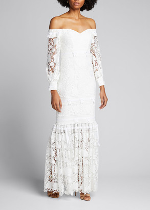 Badgley Mischka Eyelet Lace Off-the-Shoulder Gown