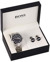 HUGO BOSS 1570057 Men's Day Date Bracelet Strap Watch and Cufflinks Gift Set, Silver/Black