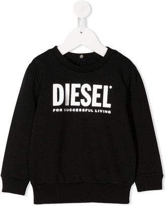Diesel Logo Print Snap Button Detail Sweatshirt