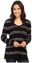 Lilla P Fringe Yarn Side Slit V-Neck Women's Clothing
