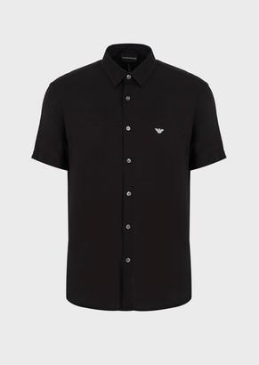 Emporio Armani Viscose Shirt With Embroidered Logo