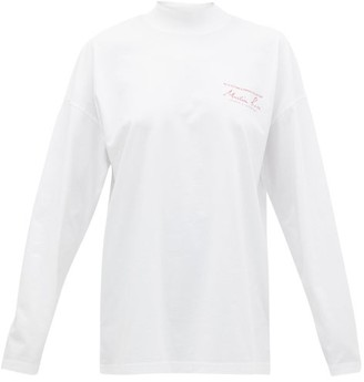 Martine Rose Logo High-neck Long-sleeved Cotton T-shirt - Womens - White