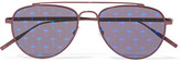 Tomas Maier Aviator-style Metal Mirrored Sunglasses - Plum