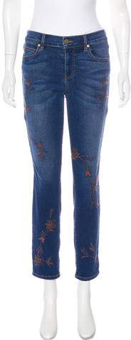 Level 99 Mid-Rise Embroidered Jeans