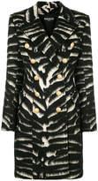 Balmain button-embellished zebra coat