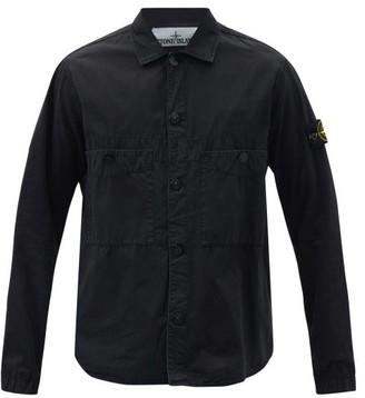 Stone Island Logo-patch Cotton-canvas Overshirt - Black