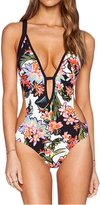 LolliLook Women's Floral One Piece Bikini Bathing Monokini Swimwear Push Up Padded Swimsuit