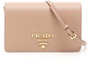 Prada Logo Plaque Fold Over Crossbody Bag
