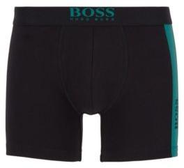 HUGO BOSS Stretch Cotton Boxer Briefs With Vertical Logo Print - Black
