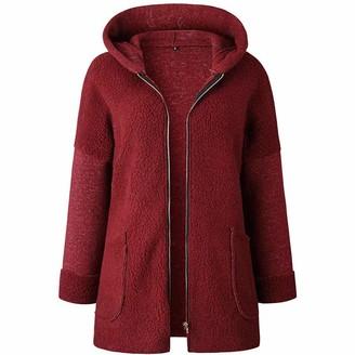 KBUY Womens Solid Zipper Hooded Fluffy Cardigan Coat Long Sleeve Suits Outwear with Pocket Oversize Ladies Zip up Hoodies Coat Warm Fleece Hooded Sweatshirts Long Jacket Plus Size Tops Pullover S-3XL